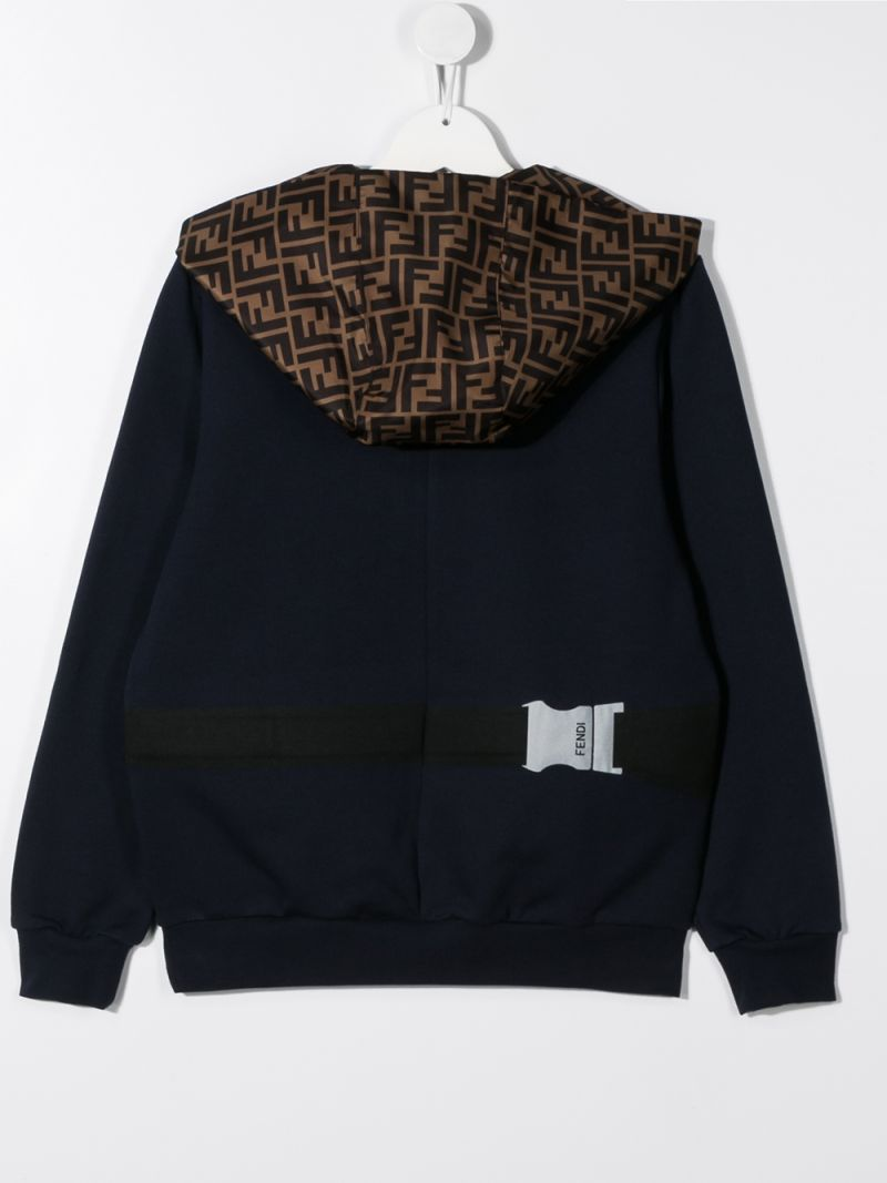 FENDI KIDS: Belt Bag print cotton hoodie Color Blue_2