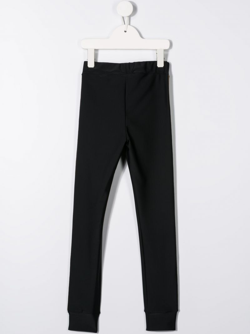 FENDI KIDS: stretch jersey leggings with FF bands Color Black_2