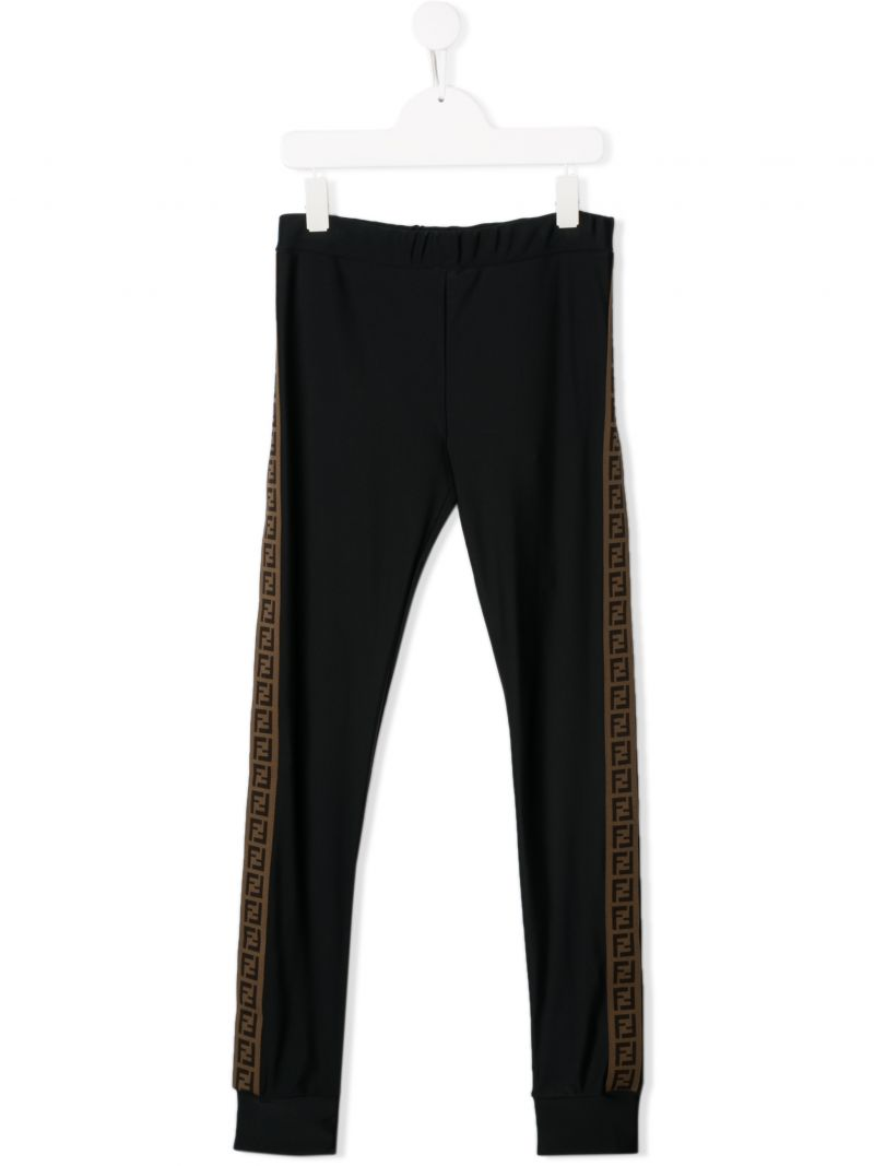 FENDI KIDS: stretch jersey leggings with FF bands Color Black_1