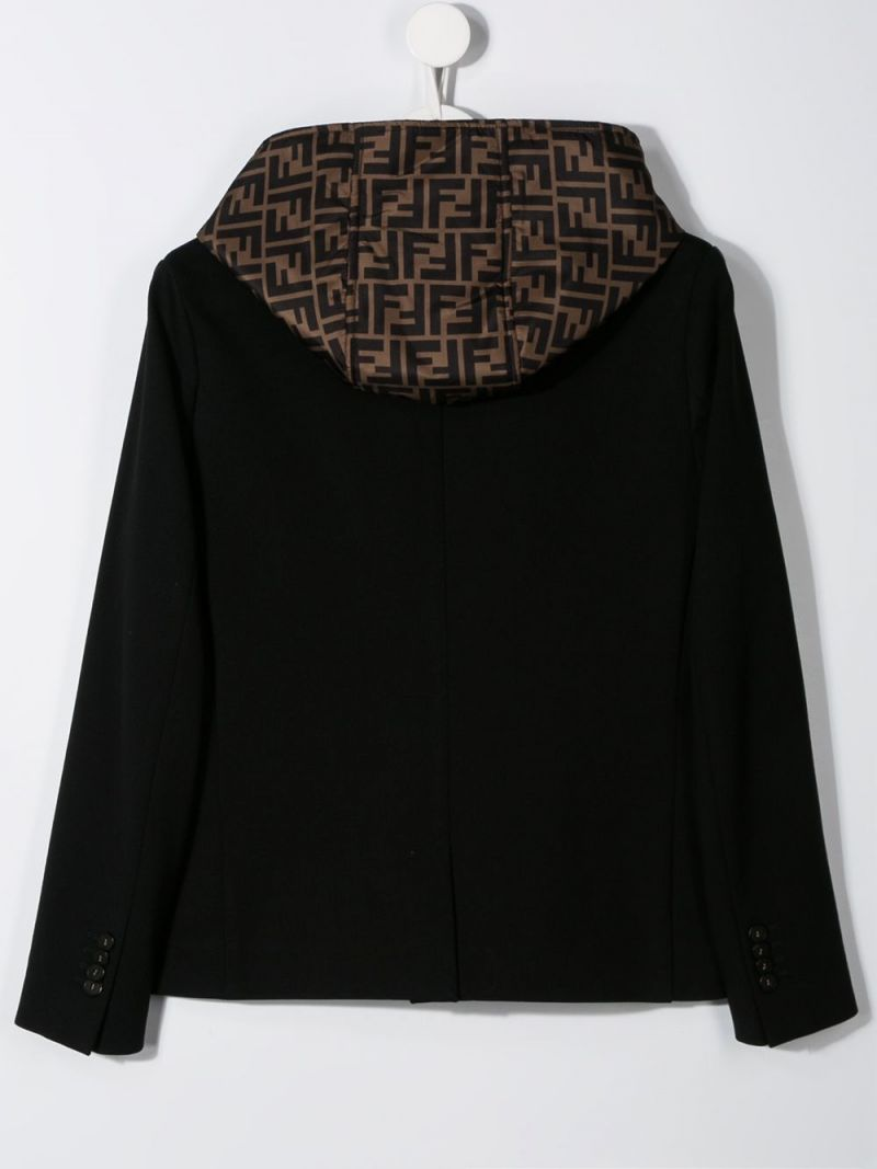 FENDI KIDS: cady single-breasted jacket with FF nylon insert Color Black_2
