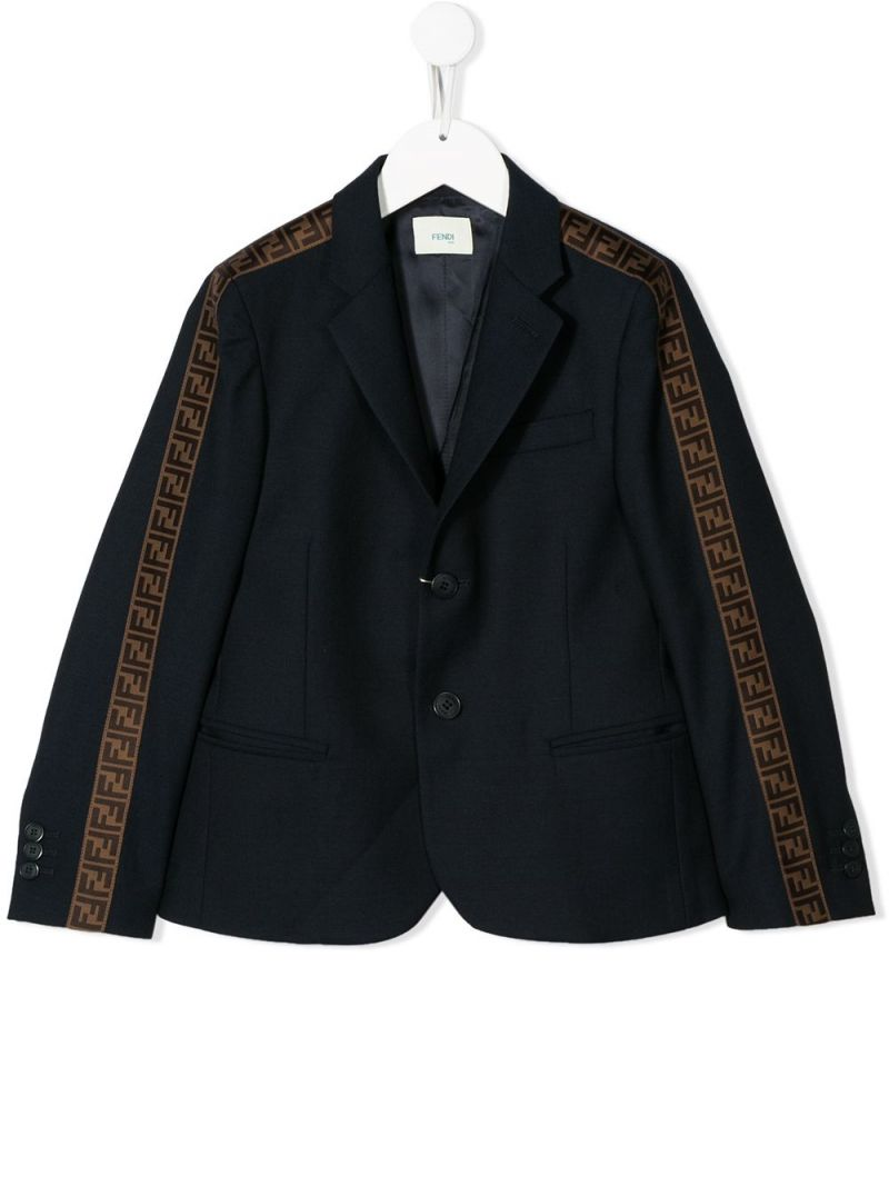 FENDI KIDS: FF tapes-detailed wool single-breasted jacket Color Blue_1