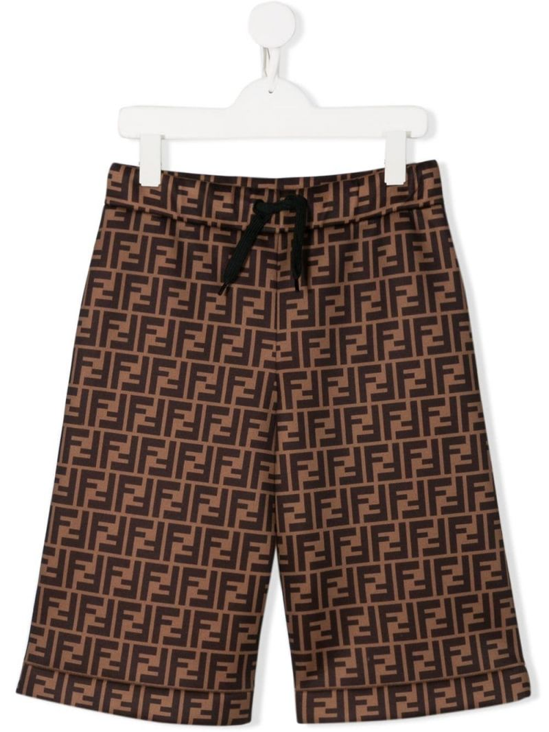 FENDI KIDS: FF technical fabric shorts Color Brown_1