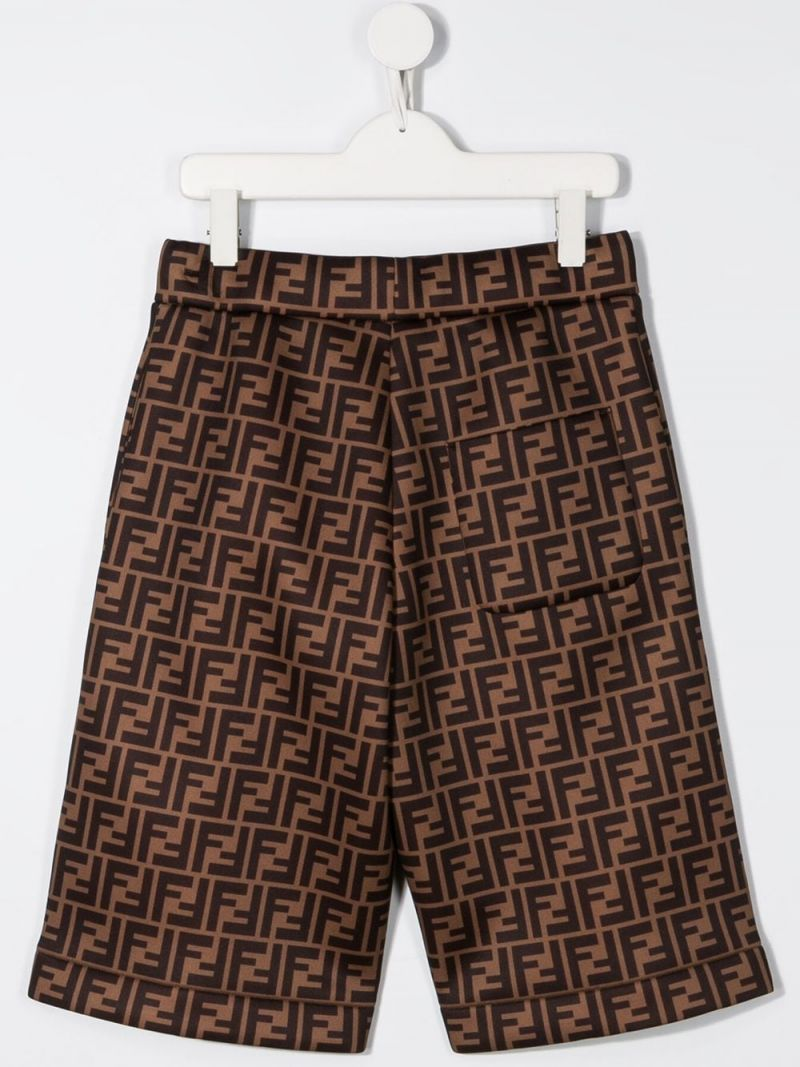 FENDI KIDS: FF technical fabric shorts Color Brown_2