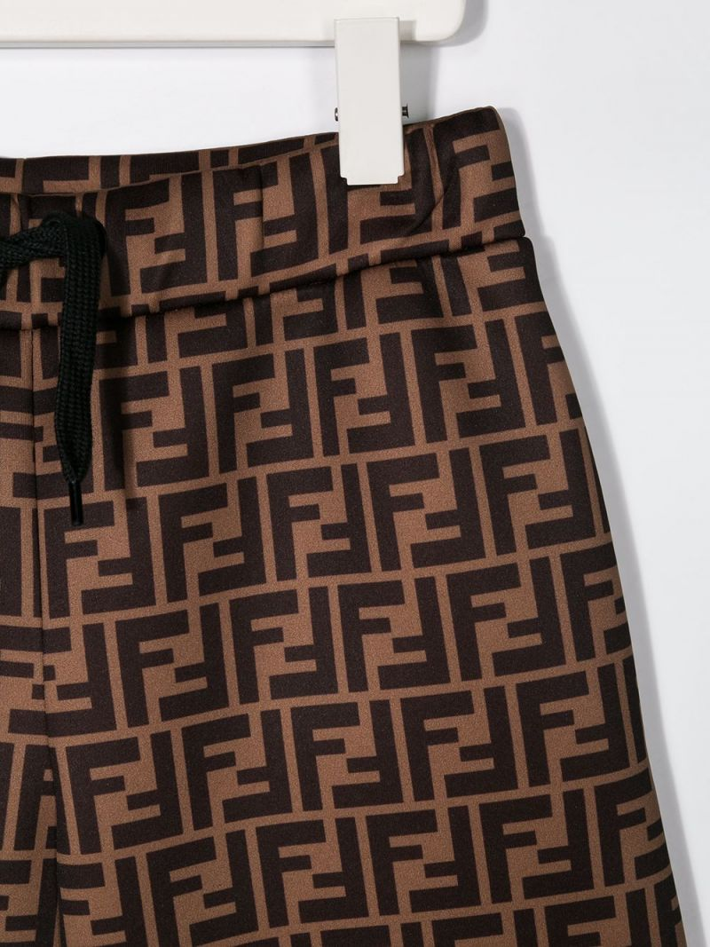 FENDI KIDS: FF technical fabric shorts Color Brown_3