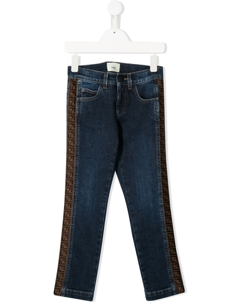 FENDI KIDS: FF tapes-detailed regular-fit jeans Color Blue_1