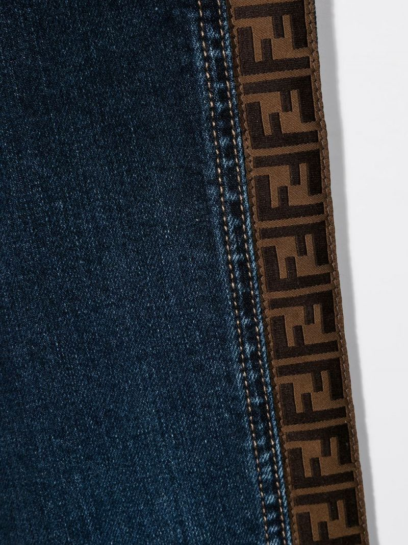 FENDI KIDS: FF tapes-detailed regular-fit jeans Color Blue_3