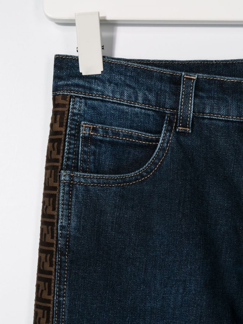 FENDI KIDS: FF tapes-detailed regular-fit jeans Color Blue_2