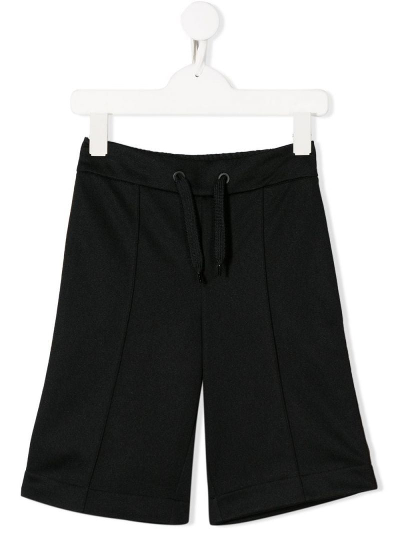 FENDI KIDS: FF bands cotton blend shorts Color Black_1