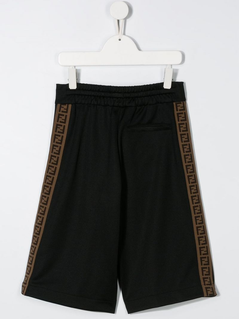 FENDI KIDS: FF bands cotton blend shorts Color Black_2