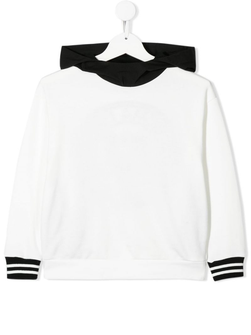 FENDI KIDS: Fendi Roma embroidered cotton hoodie Color Neutral_1