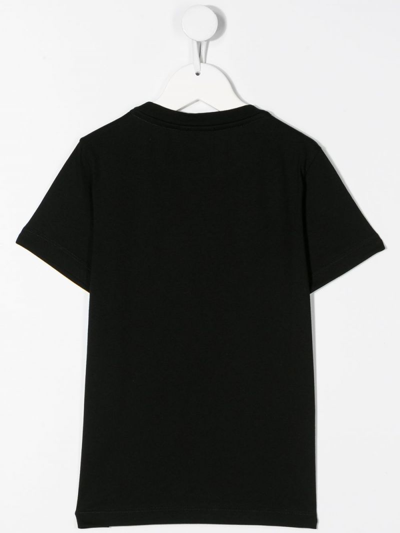 FENDI KIDS: graphic logo print cotton t-shirt Color Black_2