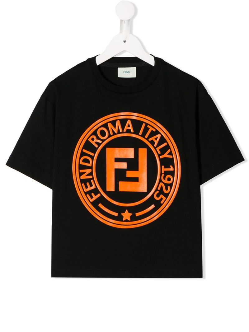 FENDI KIDS: Fendi stamp print cotton t-shirt Color Black_1