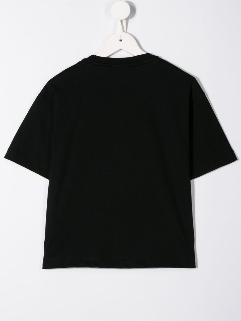 FENDI KIDS: Fendi stamp print cotton t-shirt Color Black_2