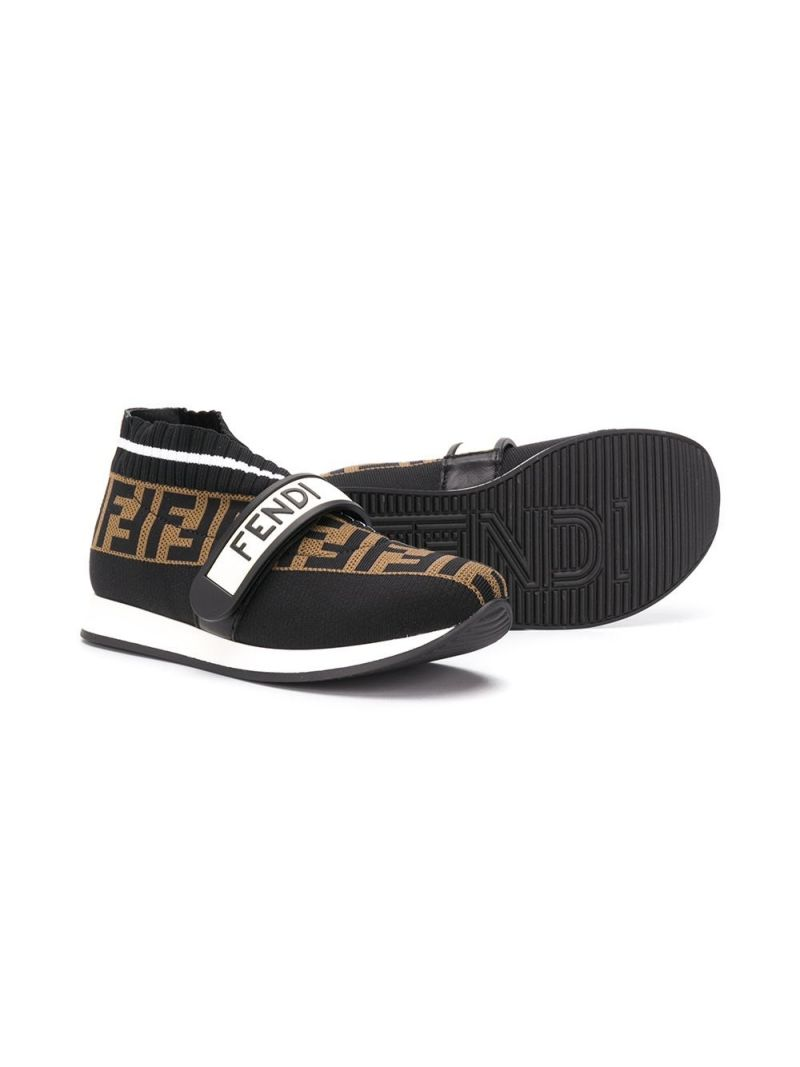 FENDI KIDS: FF stretch knit low-top sneakers_2