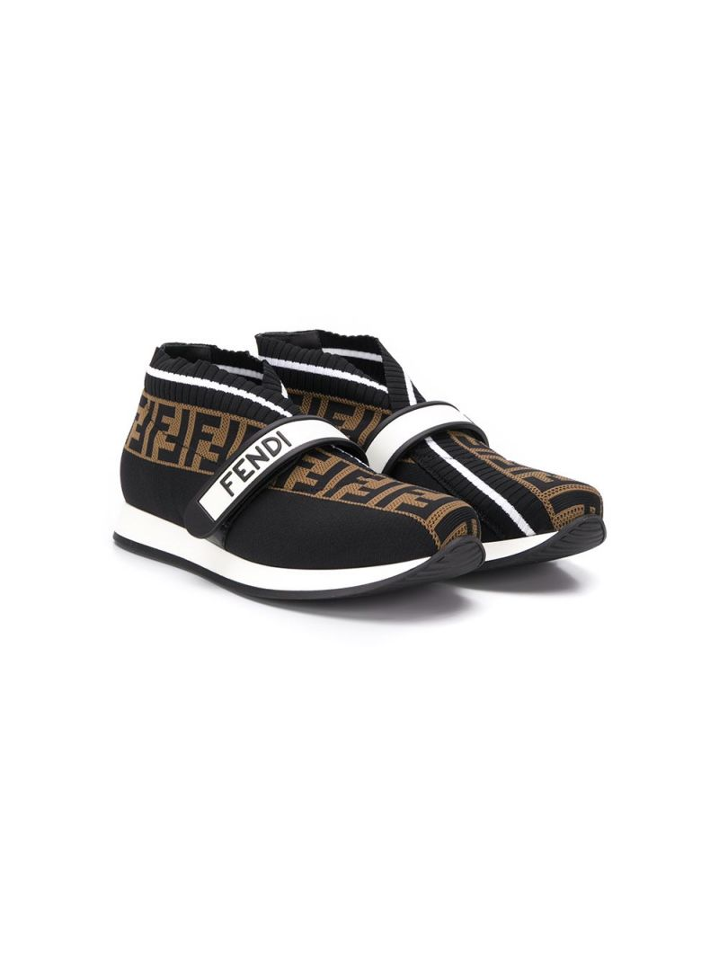 FENDI KIDS: FF stretch knit low-top sneakers_1