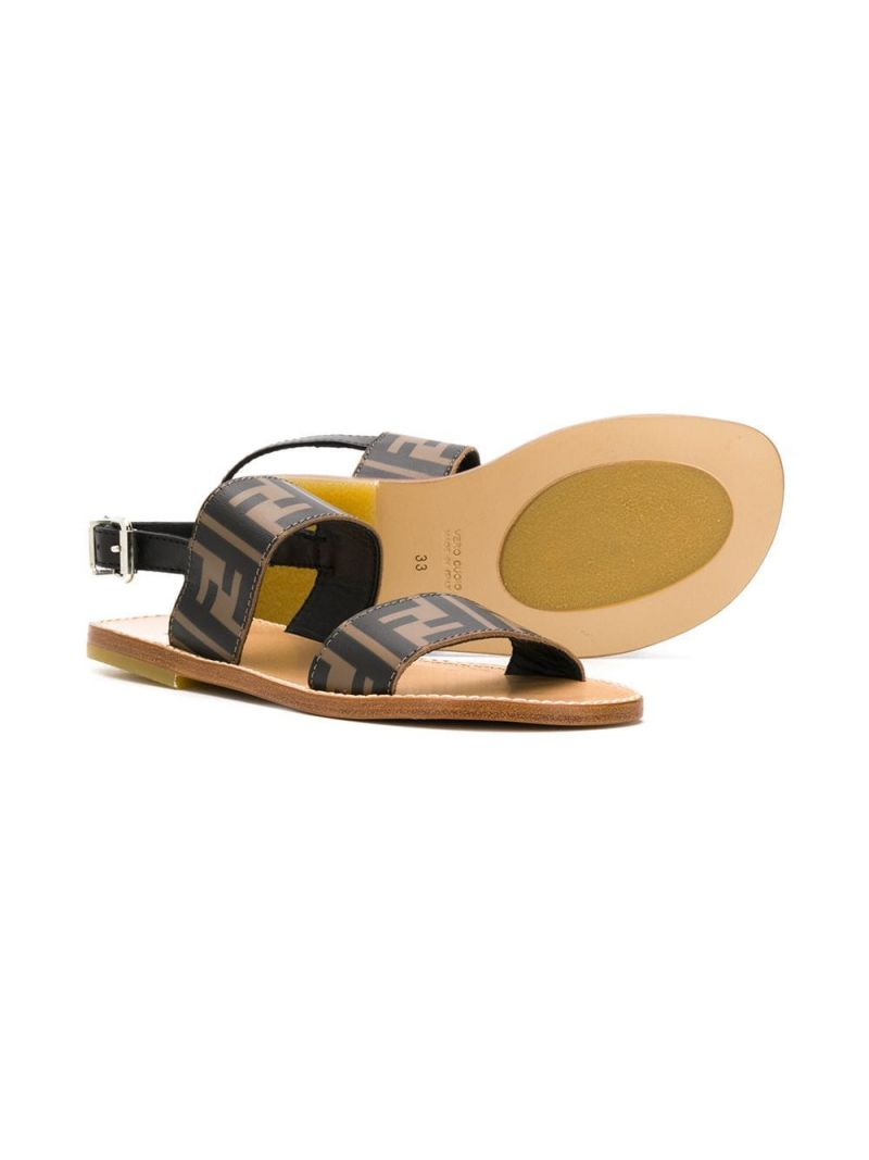 FENDI KIDS: FF smooth leather flat sandals Color Black_2
