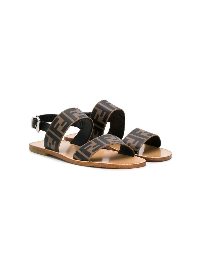 FENDI KIDS: FF smooth leather flat sandals Color Black_1