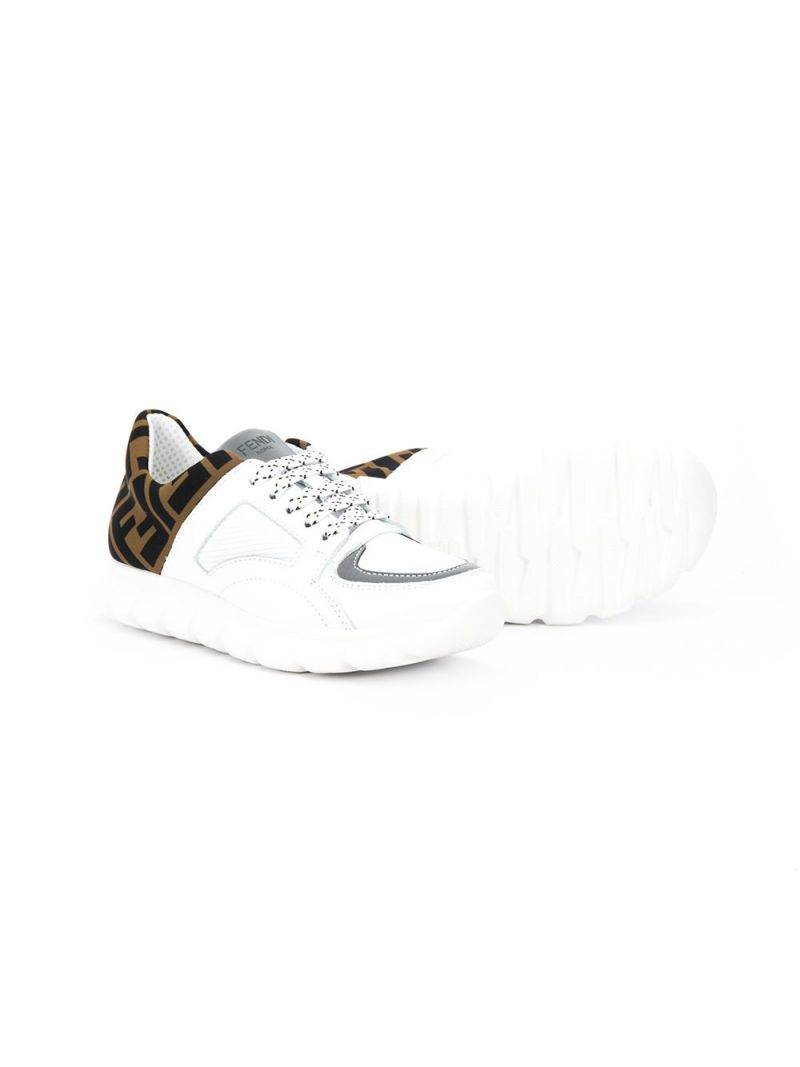 FENDI KIDS: FF neoprene insert smooth leather sneakers_2