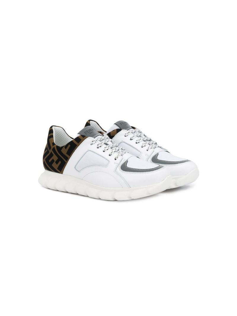FENDI KIDS: FF neoprene insert smooth leather sneakers_1