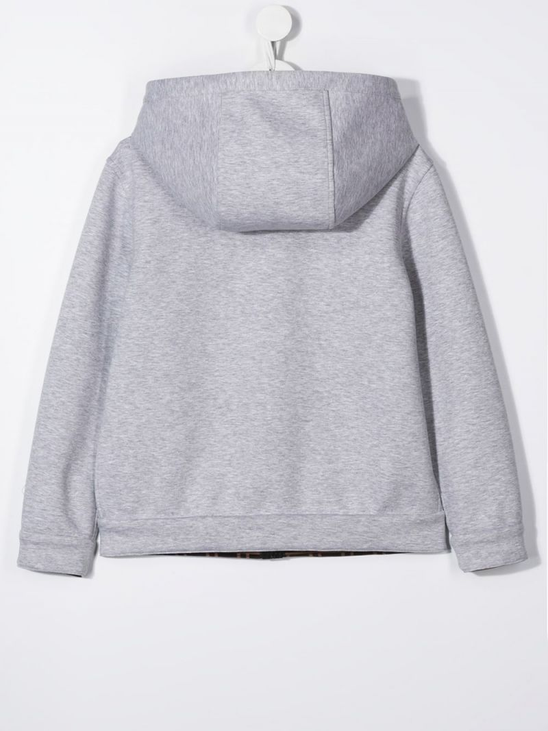 FENDI KIDS: neoprene reversible full-zip jacket Color Grey_2