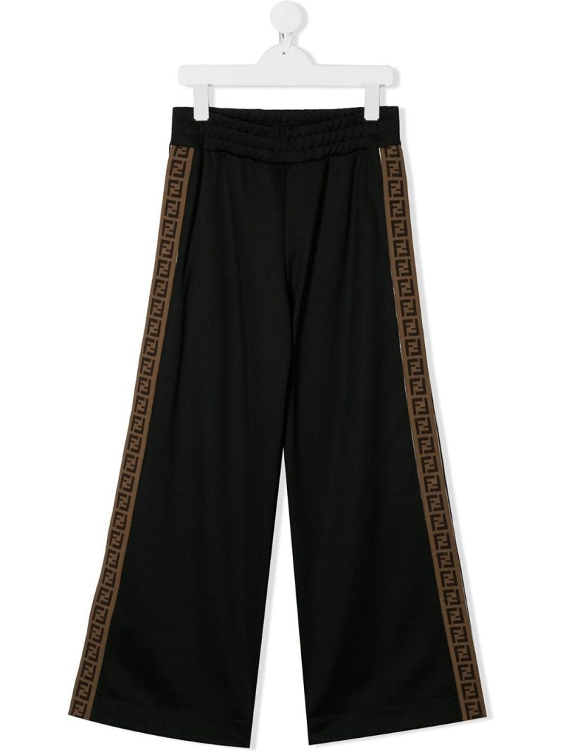 FENDI KIDS: FF band-detailed technical cotton joggers Color Black_1
