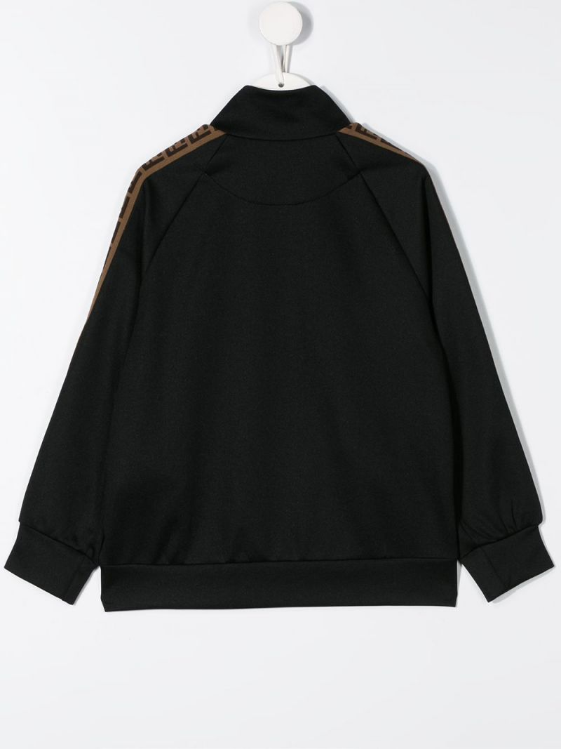 FENDI KIDS: FF band-detailed cotton blend full-zip sweatshirt Color Black_2
