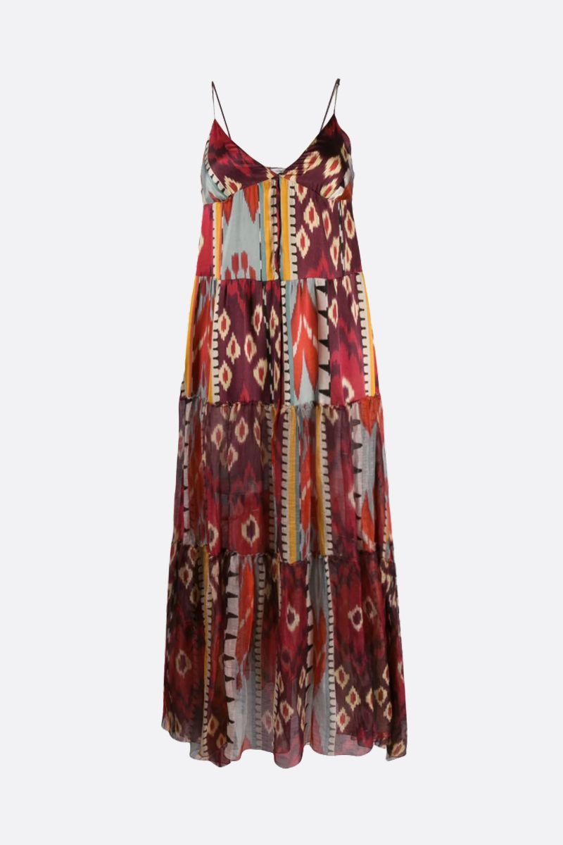FORTE FORTE: Encens printed linen silk blend flounced dress Color Multicolor_1