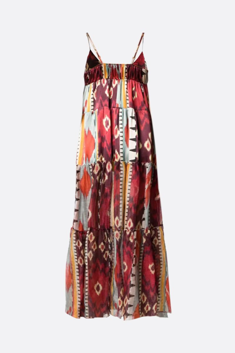 FORTE FORTE: Encens printed linen silk blend flounced dress Color Multicolor_2