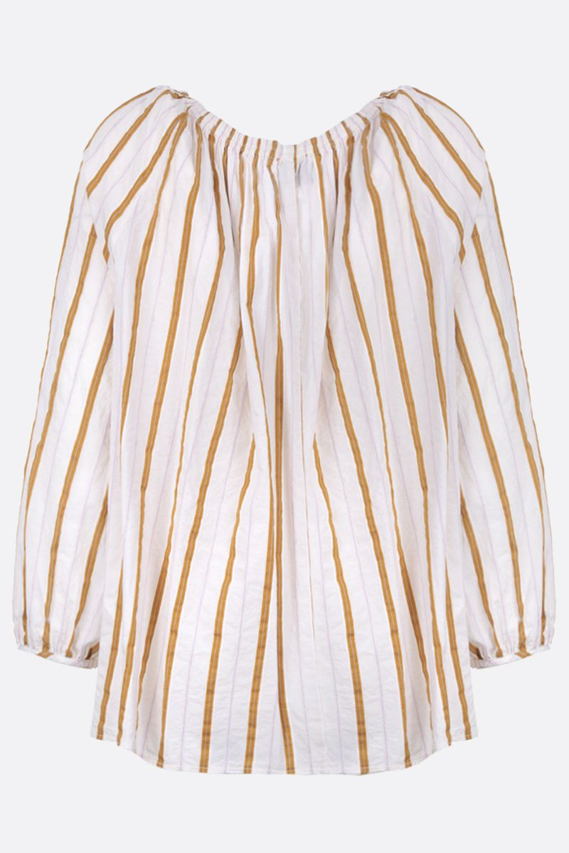 FORTE FORTE: striped cotton blend blouse Color Gold_2