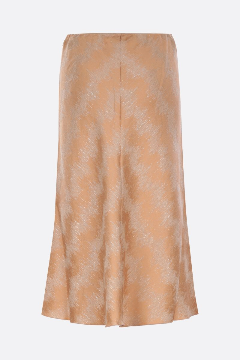 FORTE FORTE: soft organic jacquard fabric flared skirt Color Brown_1