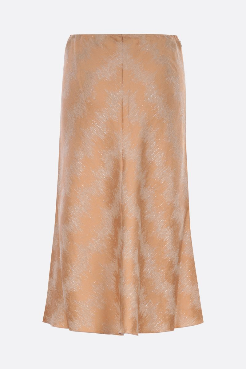 FORTE FORTE: soft organic jacquard fabric flared skirt Color Brown_2