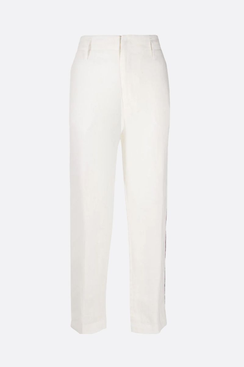 FORTE FORTE: piping-detailed linen straight-fit pants Color White_1