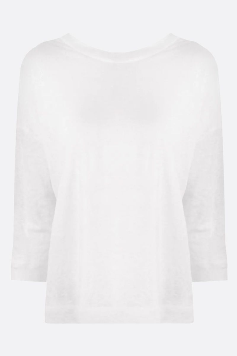 FORTE FORTE: linen three-quarter sleeved t-shirt Color White_1