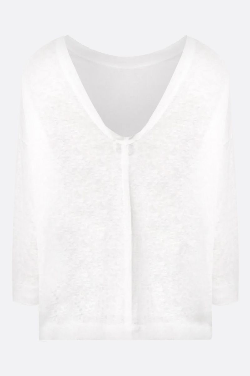 FORTE FORTE: linen three-quarter sleeved t-shirt Color White_2