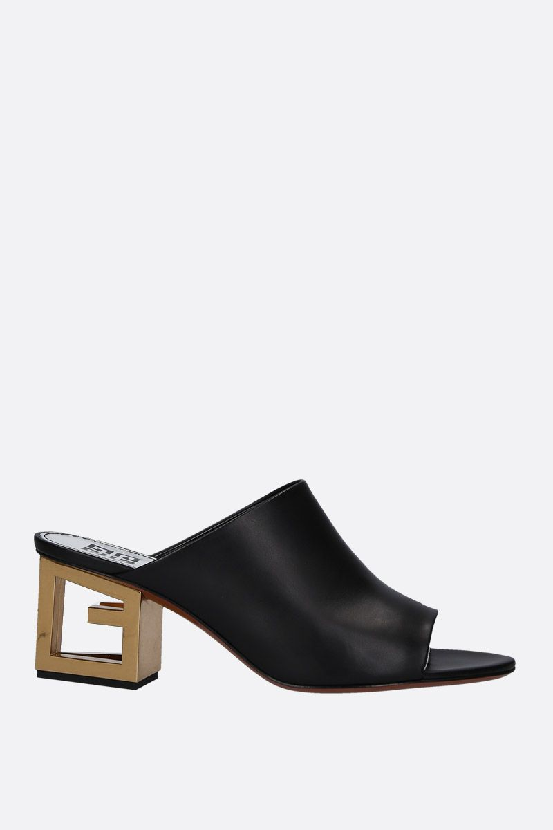 GIVENCHY: Triangle mule sandals in smooth leather Color Black_1