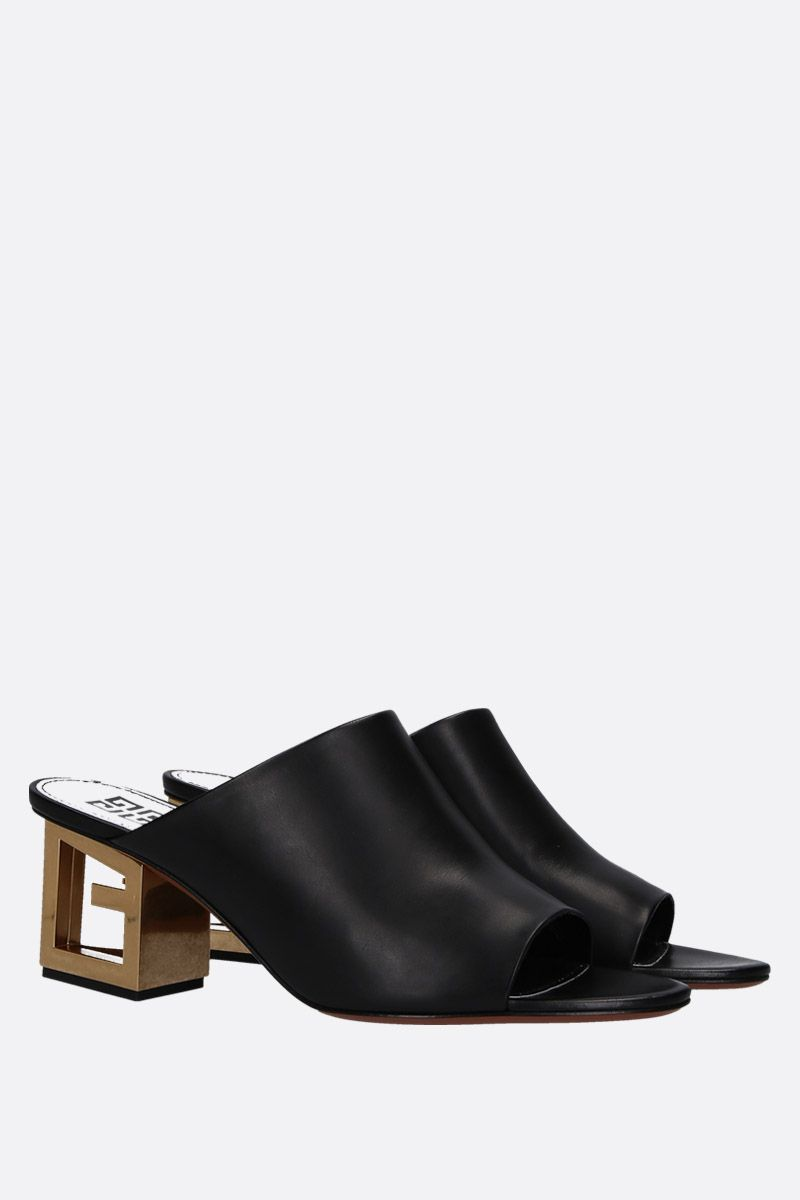 GIVENCHY: Triangle mule sandals in smooth leather Color Black_2