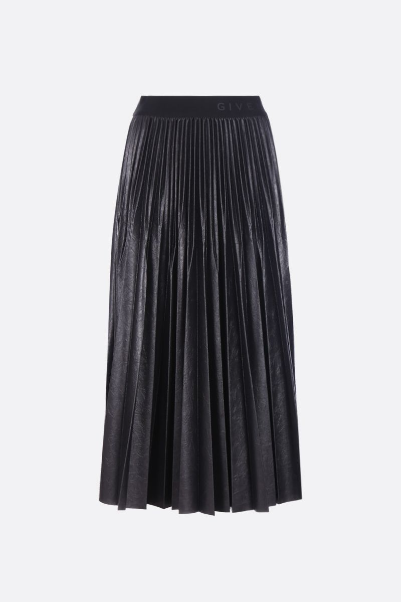 GIVENCHY: Givenchy pleated skirt in coated jersey Color Black_1