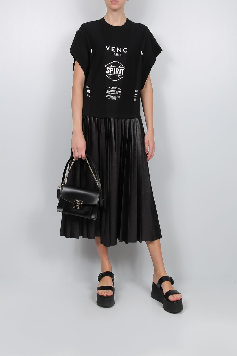 GIVENCHY: nylon pleated skirt jersey midi dress Color Black