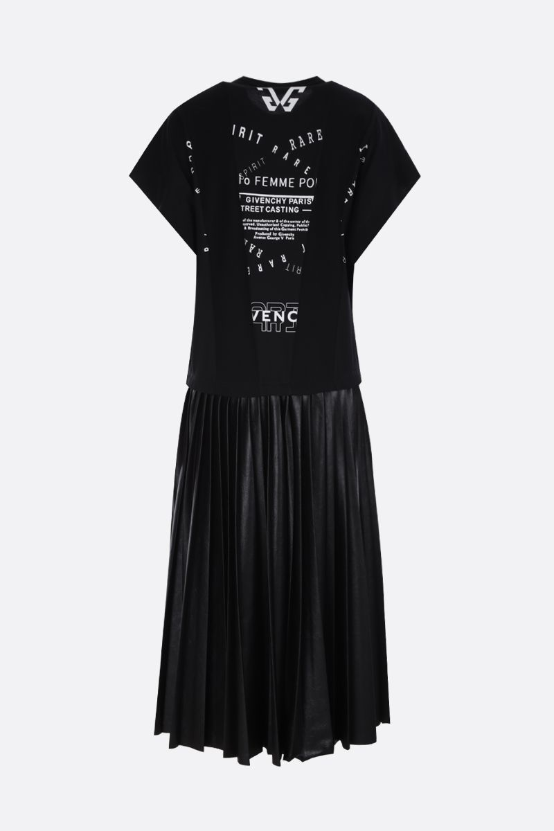 GIVENCHY: nylon pleated skirt jersey midi dress Color Black_3