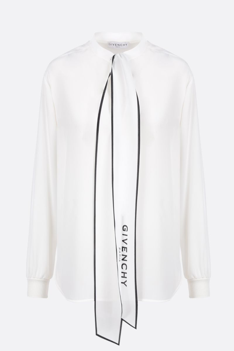 GIVENCHY: crepe de chine blouse with logoed detail Color Multicolor_1