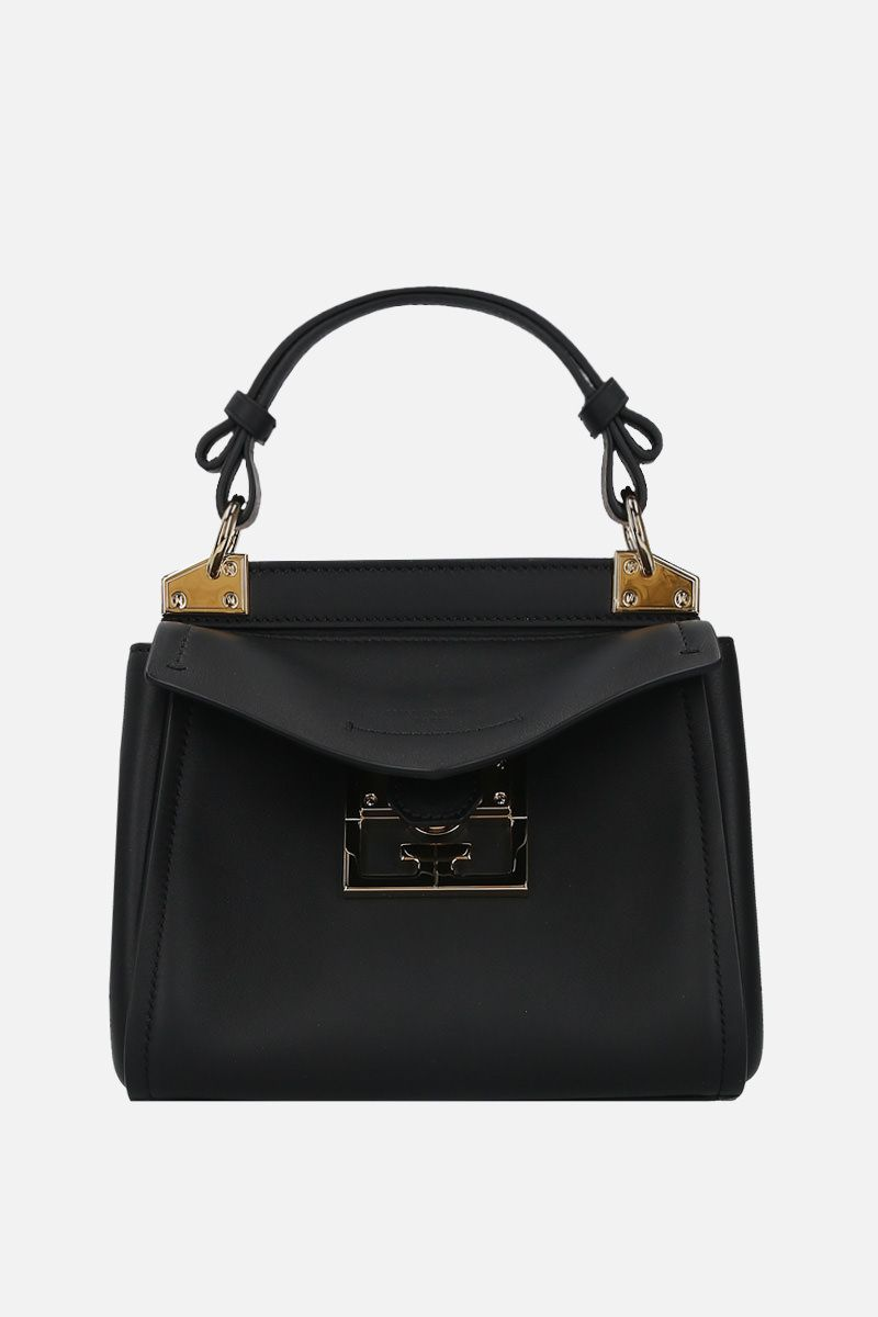 GIVENCHY: Mystic mini smooth leather top handle bag Color Black_1