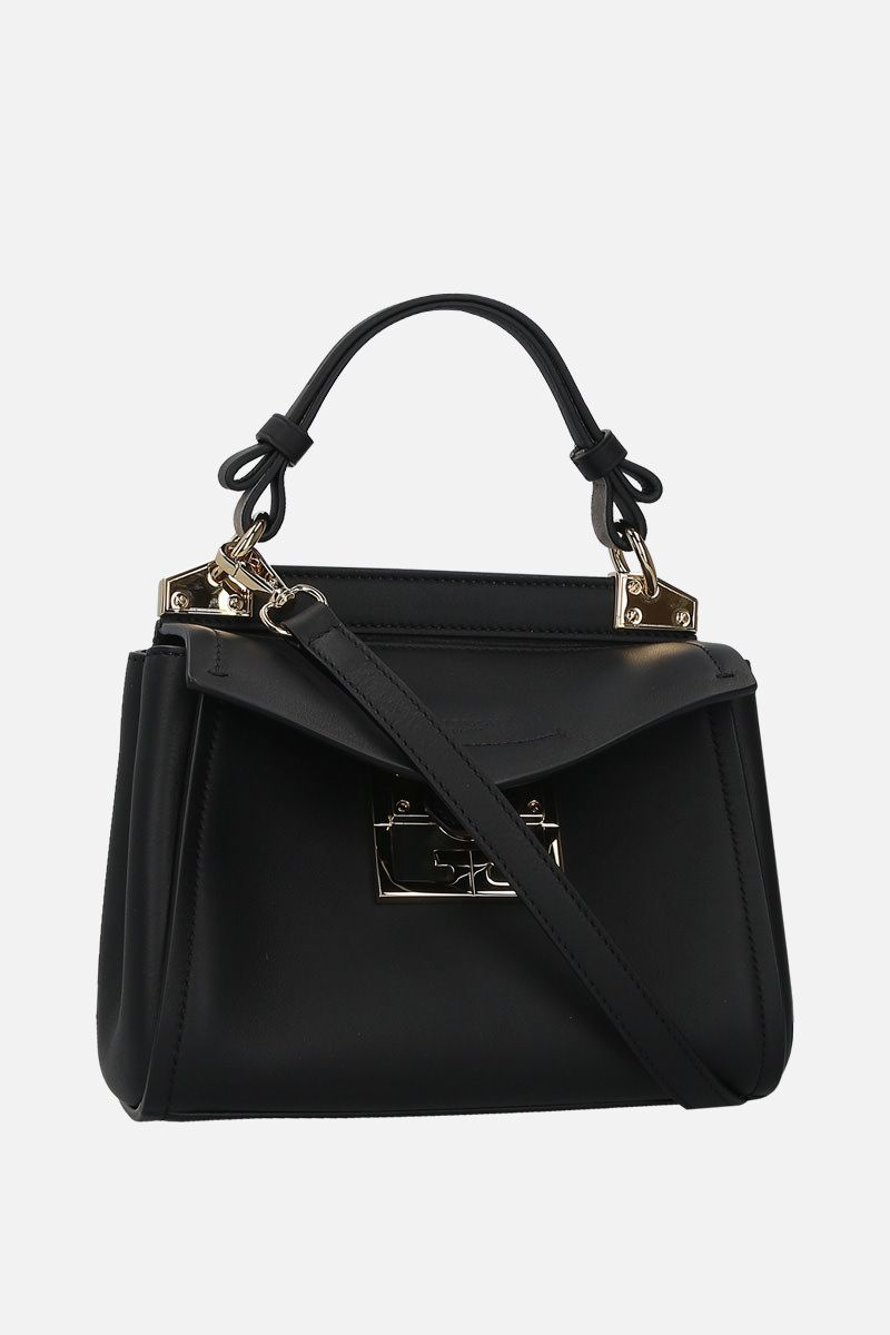 GIVENCHY: Mystic mini smooth leather top handle bag Color Black_2