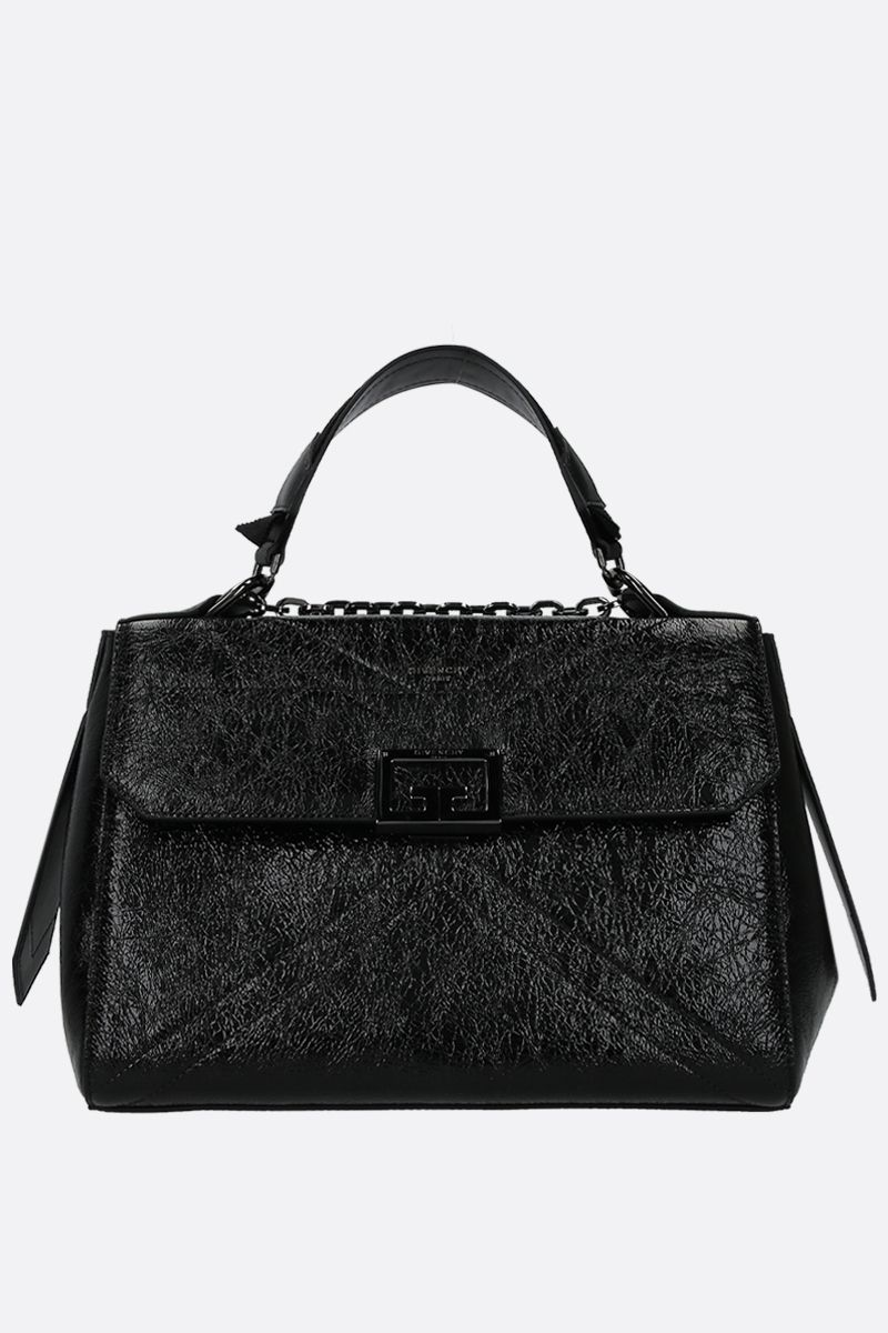 GIVENCHY: ID medium top handle bag in crackled leather Color Black_1