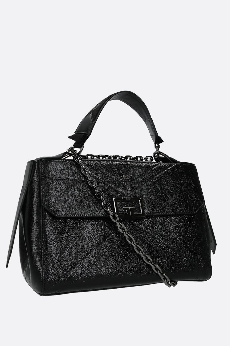 GIVENCHY: ID medium top handle bag in crackled leather Color Black_2