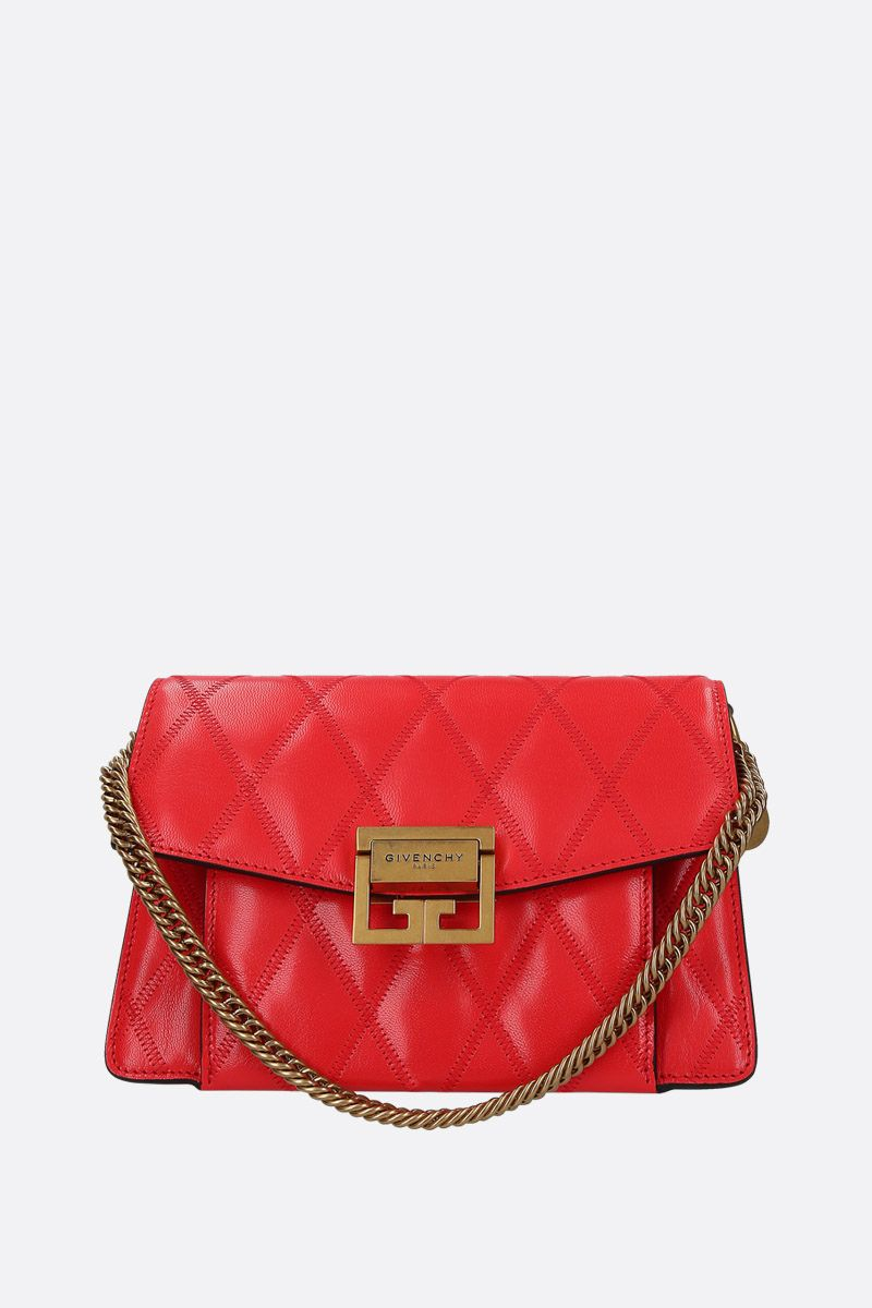 GIVENCHY: GV3 small shoulder bag in quilted leather Color Red_1