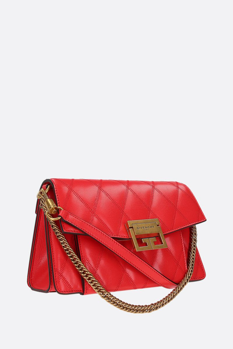 GIVENCHY: GV3 small shoulder bag in quilted leather Color Red_2
