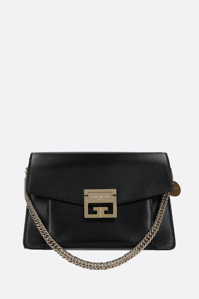 GIVENCHY: GV3 small shoulder bag in shiny leather Color Black_1