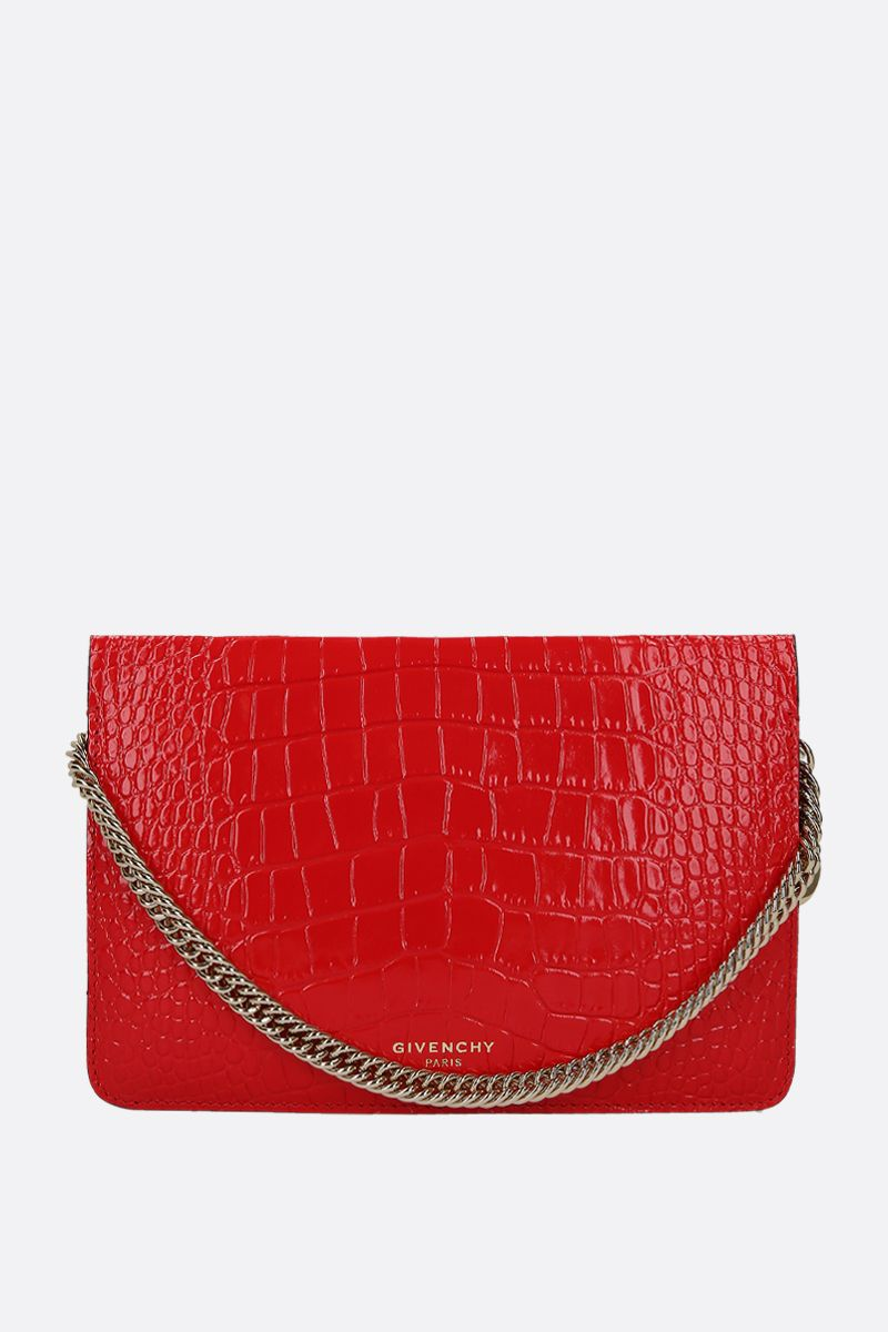 GIVENCHY: Cross3 crossbody bag in crocodile embossed leather Color Red_1