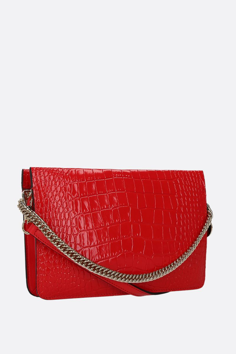 GIVENCHY: Cross3 crossbody bag in crocodile embossed leather Color Red_2