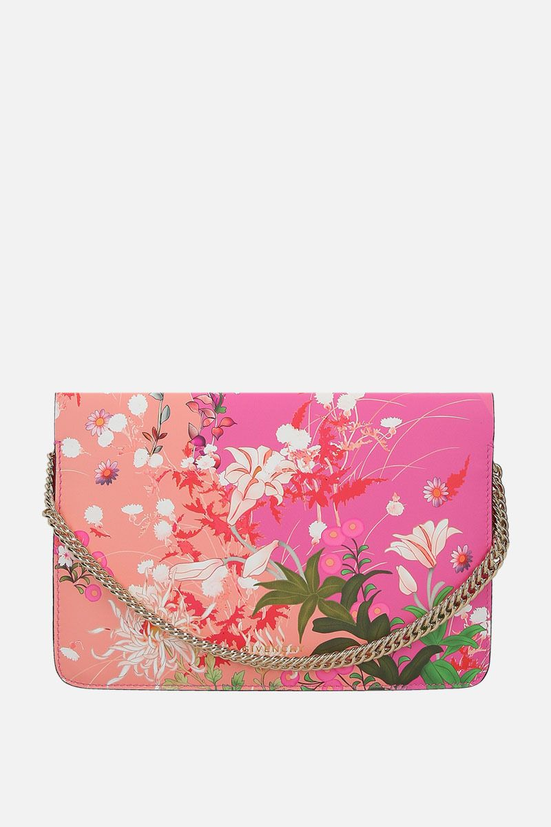 GIVENCHY: borsa a tracolla Cross3 in pelle liscia stampa floreale Colore Rosa_1